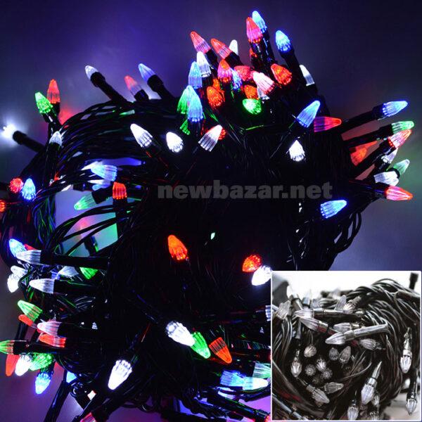 Гирлянда 100 LED конус mix. Купить гирлянды оптом, новогодние гирлянды