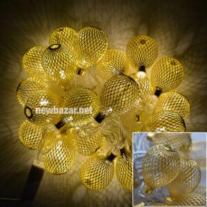 Гирлянда золотая 2-56 шишка сеточка