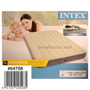 INTEX 64708 НАДУВНОЙ ВЕЛЮРОВЫЙ МАТРАС 137cm*191cm*25
