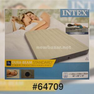 INTEX 64709 НАДУВНОЙ ВЕЛЮРОВЫЙ МАТРАС NEW 152cm*203cm*25cm