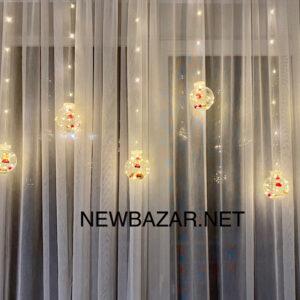 Штора нить шар с декорацией тепло белая